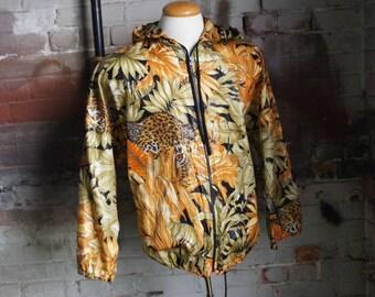 SALVADORE FERRAGAMO 1980's Leopard Animalier Print Shell Jacket, Made in Italy