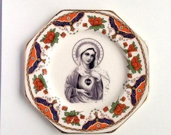Vintage Virgin Mary Catholic Religious Plate Altered Art