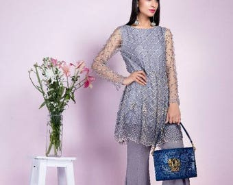 Ready to wear peplum dress, bootcut pants, silver ash, women's clothing, pakistani clothes
