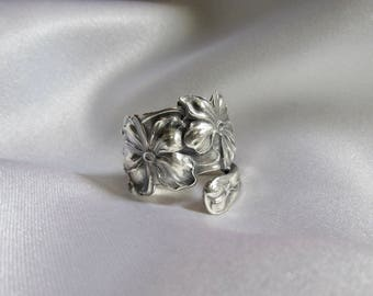 Flower Spoon Ring Violet Rare Pattern Sterling Silver Floral Nature Jewelry Symbolic of Faithful Friendship