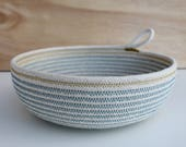 Table Bowl in DENIM & MUSTARD  //  Unbleached cotton rope fruit/bread/veg basket for the kitchen/dining/living room