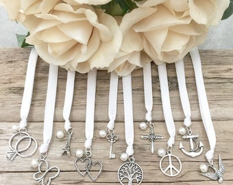 Traditional Ribbon Cake Pulls // Set of 10 // Wedding // Charms