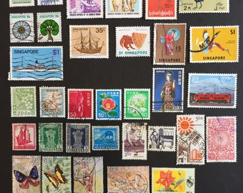 Burma Japan India Malaysia Singapore Postage Stamps Around the World Lot of 35 Vintage