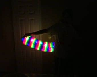Huge 34 inch Rainbow LED Light Up Animal Costume Fox Tail
