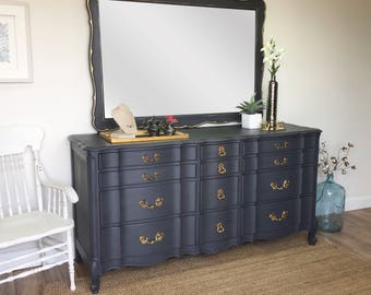 French Provincial Dresser - Dresser with Mirror, Mid Century Dresser - French Country Furniture - Vintage Dresser - Fixer Upper Furniture