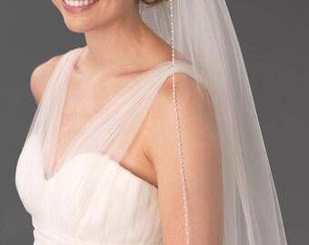 Cathedral Pearl & Crystal Wedding Veil, Pearl Bridal Veil, Crystal Wedding Veil, Delicate Pearl Edge Wedding Veil,Cathedral Veil ~VB-5046-CA