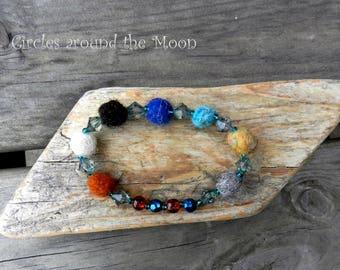 Handmade Felt & Bead Bracelet - Circles around the Moon
