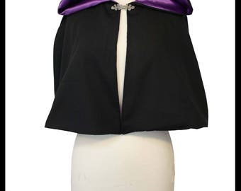 High Quality Black Poly Cotton Short Cloak/ Cape lined with Purple Shimmer Satin. Ideal for LARP Medieval Costume Gothic Alternative. NEW!