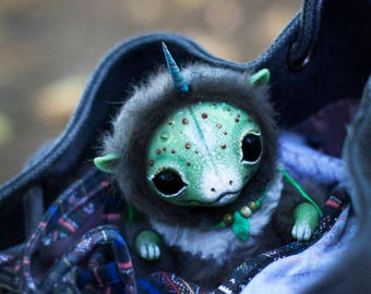 POSEABLE Unicorn Domestic Dragon Cub  - Fantasy Creature OOAK Art Doll