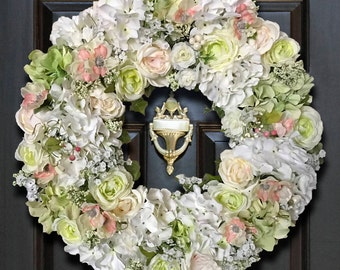 Beautiful Home Wreaths, Floral Home Decor Wreath, Hydrangea Wreaths, Front Door Wreaths, Beautiful Wreaths, Wreaths for Door, Floral Wreath