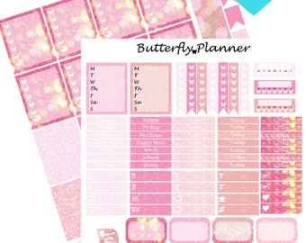 Pink Glitter Printable Planner Stickers, 2 Pages, Digital Download