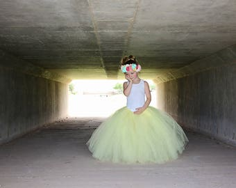 Full length Light yellow tutu skirt. Long tutu. Baby yellow