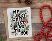 Merry Christmas Typography - A2 Note Card Boxed Set