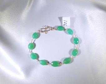 Chrysoprase ovals AAA 14k gold filled link bracelet gemstone handmade  item 901