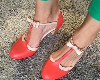 Loisa Coral - High Heel Sandal Pump in coral and pick nude leather - Handmade in Argentina - Free shipping