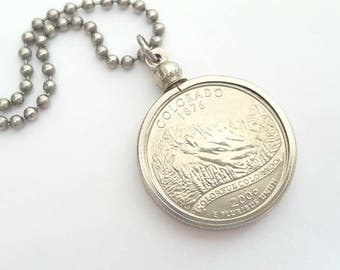 Colorado State Quarter Coin Necklace with Stainless Steel Ball Chain or Key-chain - 2006 - Rocky Mountains