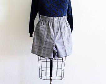 Plus Size - Vintage Black & White Plaid High Waist Shorts (Size 16)
