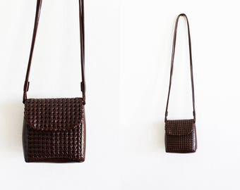 Vintage - Liz Claiborne Brown Woven Detail Crossbody Purse