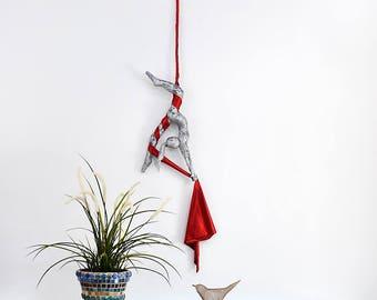 Aerial silks, Metal sculpture, Acrobat sculpture, Gymnastics sculpture, interior design, Dance art, Aerial yoga, Aerial hoop