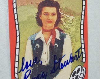 Vintage Riders of the Silver Screen Cowgirl Peggy Stewart Autographed Western Movie Trading Card, No. 265