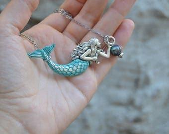 Patina Silver mermaid necklace stainless steel black pearl necklace, sideways mermaid pendant necklace, black pearl jewelry, mermaid jewelry
