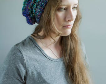 Slouchy Chunky Beret - Gorgeous Multi Color Yarns - Blues, Greens, Purples, Rainbow, Etc.