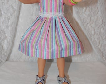 Back to School! Sparkly Striped Dress and Lace/ Shoes Included.  Handmade to fit the wellie wisher and Heart to Heart doll Free Shipping