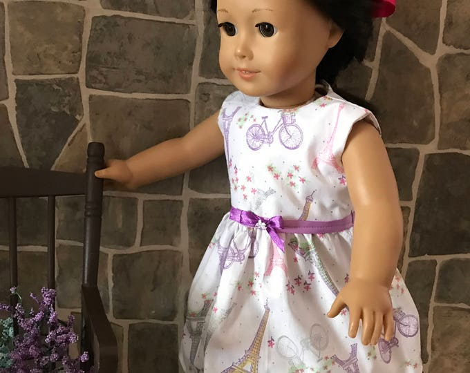 "End of Summer Sale!!! Paris Print Dress made to fit 18"" dolls FREE SHIPPING"