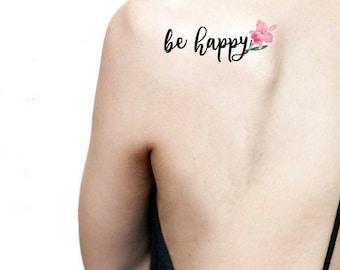 Be happy tatuaggio temporaneo con scritta / orchidea rosa illustrazione floreale / fiori calligrafia / tatuaggio botanico da schiena spalla