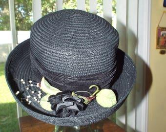 Women's Vintage Hat Navy Blue Feminine