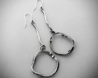 Sterling Silver Dangle Earrings, Long Hoop Earrings, Organic Textured Jewelry, Unique Handmade Accessories, Casual Everyday Jewelry.