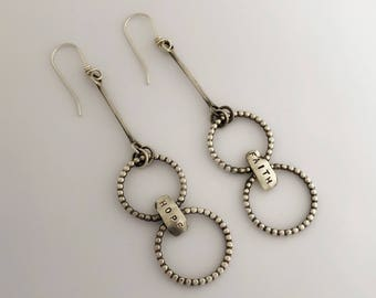 Personalized Jewelry Gift Silver, Sterling Long Hoop Earrings, Handmade Jewerly For Her By Sisters Of The Sun, Dangle Earrings For Mom