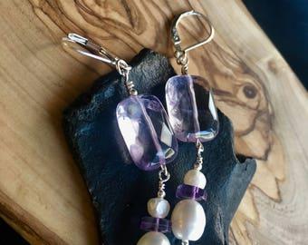 February's Girl Amethyst and Freshwater Pearl Leverback Earrings