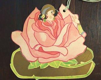 1920s Flapper inside Pink Rose, Bridge Tally Card, Art Deco Die Cut, Unusual Humorous, Vintage Card, Antique Tally