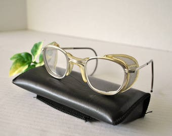 Vintage AO American Optical Safety Glasses with Pivoting Mesh Side Shields, Industrial Eyewear, Steam Punk Goggles