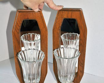 Vintage Wood and Mirror Wall Sconce Pair, Wood Framed Mirror Candle Holder Wall Sconce Pair