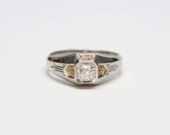 Edwardian 18k Two Tone Old Mine Cut Diamond Gents Ring - 1/2ct Old Mine Cut - All Original, Exquisite Condition