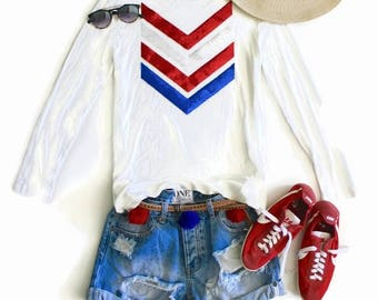 SEQUIN 4th of July Tees / 4th of July Shirt / American Flag Chevron Tee T Shirt / Red White and Blue / Patriotic Shirt / Stars and Stripes