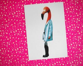 Flamingo, Artprint, collage, flamingo, animal, pink, fashion, art.
