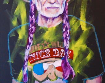 "Willie Nelson 12""x18"" Texas Austin Giclee Poster Musician Guitar Celebrity Print Wall Art Colorful Abstract Pop Art"