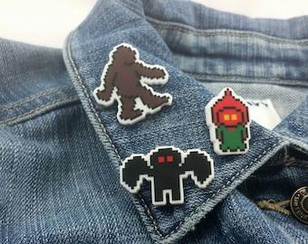 Cryptid Pins - Cryptozoology Pins - Sasquatch Pin - Mothman Pin - Braxton County Monster Pin