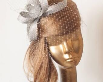 Silver Grey FASCINATOR . Sterling Silver Sinamay Bridal Fascinator with Veil