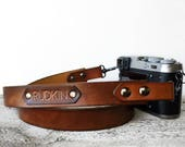 Leather Camera Strap, Personalized Gift, Leather SLR DSLR Camera Strap Custom Name, Photographer Gift, Brown Camera Strap, Photography Lover