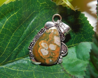 Mystical Unicorn Stallion inspired vessel - Handcrafted Rainforest Jasper pendant with chain