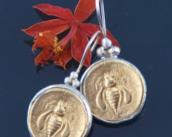 Bee Earring, 18k Gold Plated Coin Earring