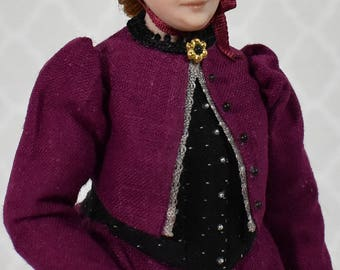 Miniature Porcelain Dollhouse Doll in 1:12 Scale-Victorian Lady