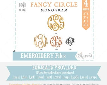 4 sizes- Fancy Circle Embroidery Font. Embroidery Alphabet for embroidery machine  Embroidery Font  Embroidery Monogram BX font Fancy Circle