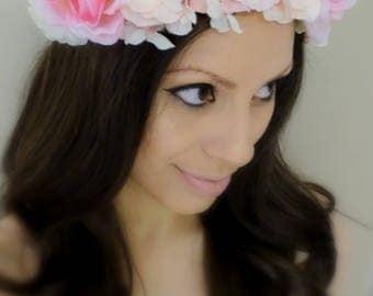 Floral Headpiece, Flower Headband, Pink Flower Crown, Pink Floral Crown, Pink Flower Headband
