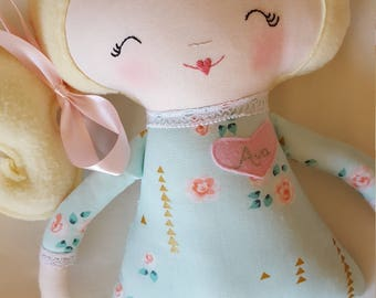 Handmade soft doll, mint cream gold and pink dress, toddler gift, modern rag doll, free personalization
