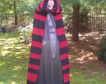 Black and Red Hooded Cloak - Fleece Hooded Cape - Beetlejuice Sith Nightmare Before Christmas Costume - Red and Black Halloween Costume